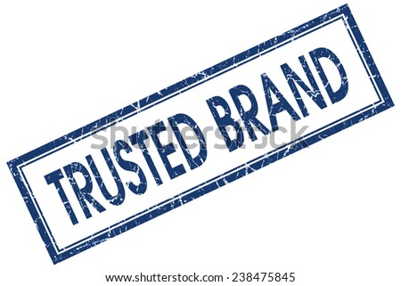 trusted brand blue square stamp isolated on white background - stock photo