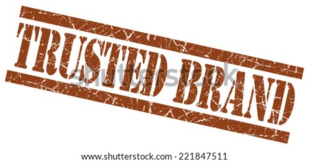 trusted brand brown square grunge textured isolated stamp - stock photo