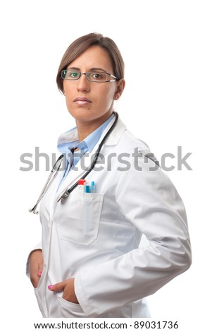 Trusty Professional Woman Doctor Standing in a Lab Coat - stock photo
