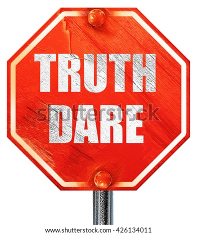 truth or dare, 3D rendering, a red stop sign