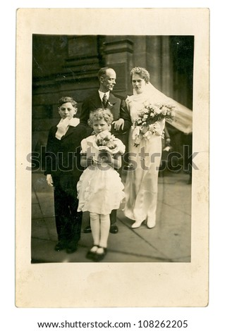 TRUTNOV, CZECHOSLOVAK REPUBLIC, CIRCA 1948 - Just married - circa 1948 - stock photo