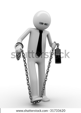 Trying to break phone addiction! Man chained with mobile phone 3 - stock photo