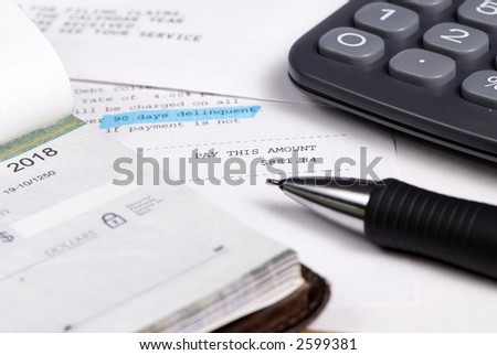 Trying to stay ahead of the eight ball. 90 days delinquent - stock photo