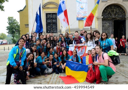 TRZEBNICA, POLAND - JULY 25: World Youth Day, group of pilgrims from Romania, Panama and Nicaragua visit St. Jadwiga Sanctuary on 25th July 2016 in Trzebnica.