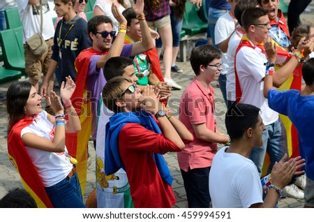 TRZEBNICA, POLAND - JULY 25: World Youth Day, pilgrims from different countries visit St. Jadwiga Sanctuary on 25th July 2016 in Trzebnica.