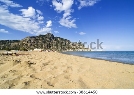 Tsambika (Tsampika) golden sand beach on Rhodes Island, Greece