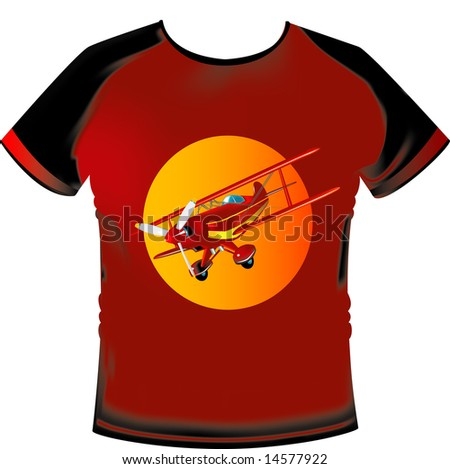 Tshirt with aeroplane motif - stock photo