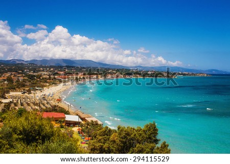 Tsilivi village and beach on Zakynthos island, Greece - stock photo