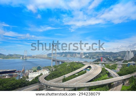 Tsing ma bridge at day - stock photo