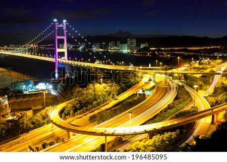 Tsing Ma bridge at night - stock photo