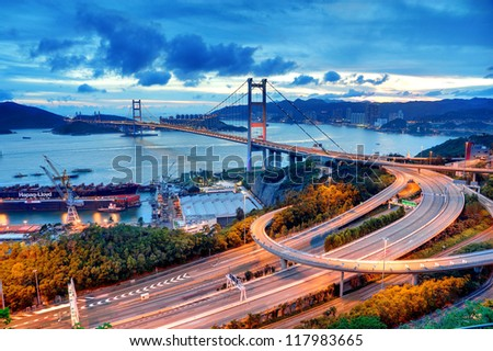 Tsing Ma Bridge, Hong Kong. - stock photo