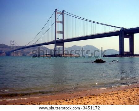 Tsing Ma Bridge, Hong Kong - stock photo
