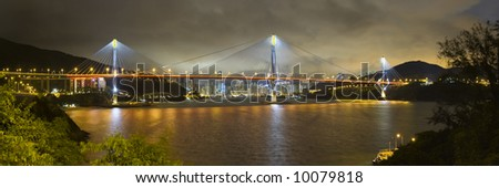 Tsing Ma Bridge Hong Kong China Stormy Evening Skyline Panoramic - stock photo