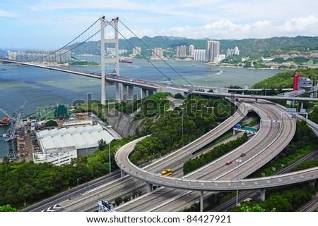 Tsing Ma Bridge in Hong Kong - stock photo