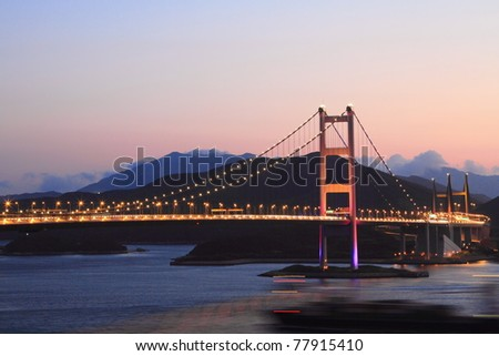 Tsing Ma Bridge, landmark bridge in Hong Kong at twilight - stock photo