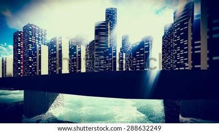 Tsunami devastating the city  - stock photo