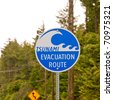 Tsunami Evacuation Route Sign - stock photo