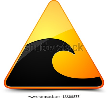 Tsunami hazard sign - stock photo
