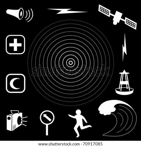 Tsunami Icons. Earthquake epicenter, tidal wave, siren, radio, emergency aid services, tsunami detection buoy, satellite & transmission, fleeing person, evacuation sign. White on black background. - stock photo