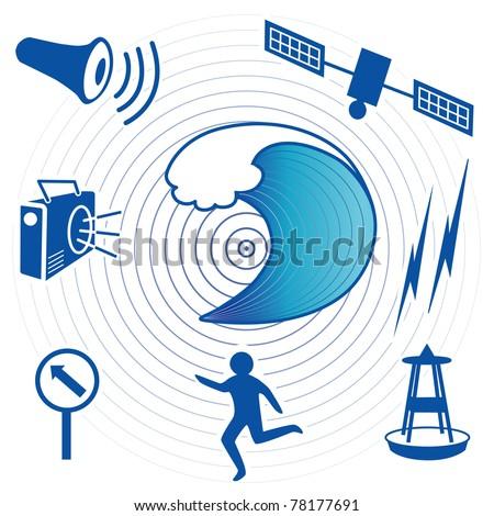 Tsunami Icons. Epicenter, tidal wave, civil defense siren, radio, ocean wave detection buoy, satellite, transmission, fleeing person, evacuation route sign. - stock photo
