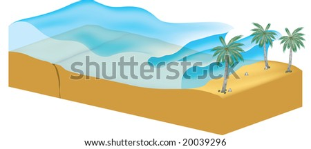 tsunami illustration with waves coming to shore from ocean