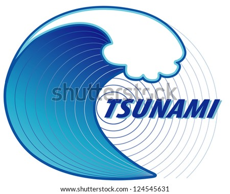 Tsunami Title Illustration. Giant tsunami wave crest, ocean earthquake epicenter,  isolated on white background. - stock photo