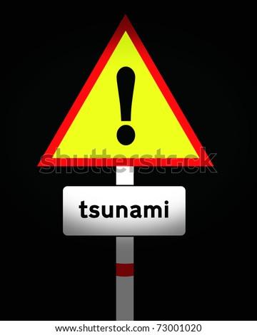 tsunami warning road sign - stock photo