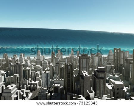 tsunami wave coming city stock illustration 73125343 shutterstock