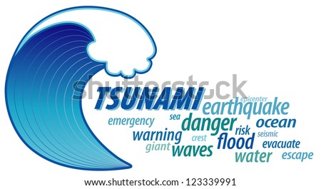 Tsunami Word Cloud with giant ocean wave crest, graphic illustration isolated on white background. - stock photo