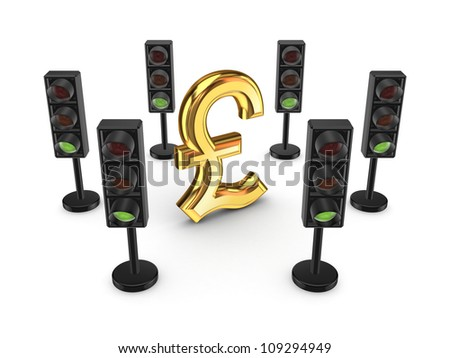 TTraffic lights around pound sterling sign.Isolated on white background.3d rendered. - stock photo