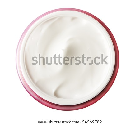 tub with a face cream with a red cover on a white background - stock photo
