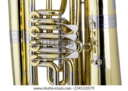 Tuba Detail, Studio Shot - stock photo