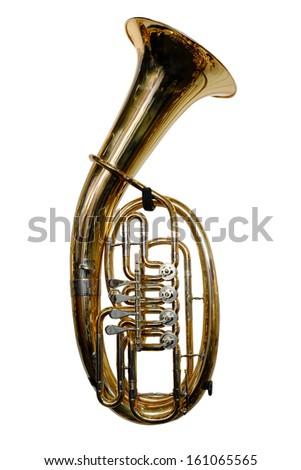 tuba isolated under the white background - stock photo