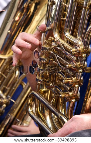 Tuba Player in Concert - stock photo