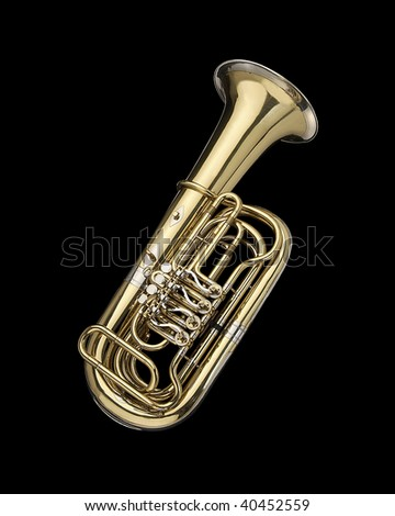 Tuba, wind instrument. On a black background - stock photo