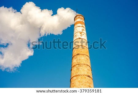 tube cloud steam polution - stock photo