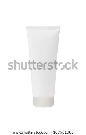 tube for cosmetic cream, gel or powder, isolated on white