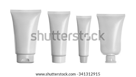 Tube Of Cream Or Gel white plastic product mockup. over grey background - stock photo
