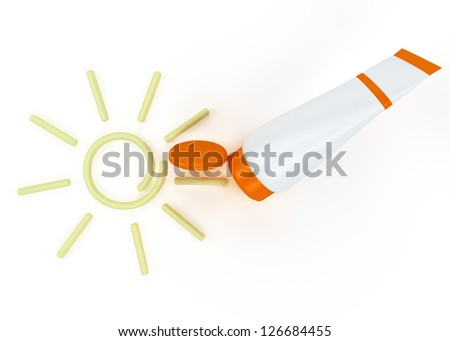 tube of sunscreen with a painted sun cream. Isolated on white background - stock photo