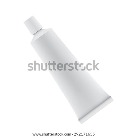 Tube of toothpaste or cream isolated on white background.