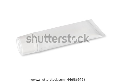 Tube of white color on a white background