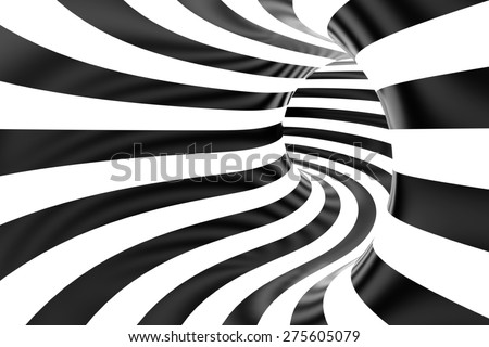 Tube or swirl making black and white background in 3D - stock photo
