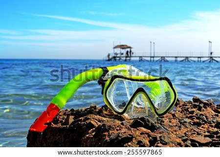 tube with a mask on the  sea