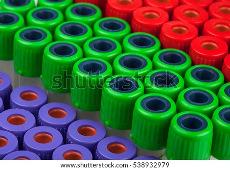 tubes for blood analysis red green purple