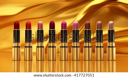 Tubes lipstick on a background of golden silk. The tube, bottle, style, makeup, lips, beauty, make-up, facials. Cosmetics. 3D rendering - stock photo