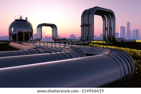 Tubes of factory at sunset.. - stock photo