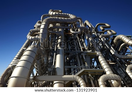 Tubes of factory in the sky. - stock photo