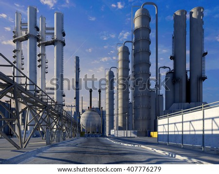 Tubes of factory in the sky.,3d render - stock photo