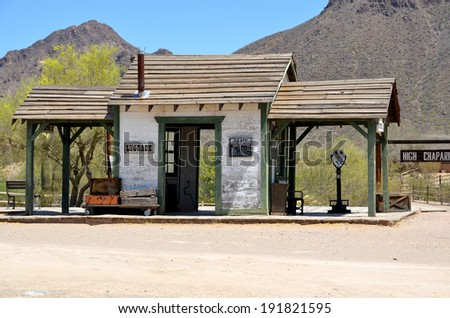 TUCSON ARIZONA APRIL 24: A vintage train station at Old Tucson on april 24 2014 in Tucson Arizona. A Western saloon is a kind of bar particular to the Old West. - stock photo