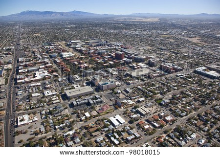 Tucson, Arizona looking East towards campus and airport